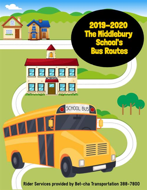 The updated 2019 - 2020 Middlebury School Bus Routes